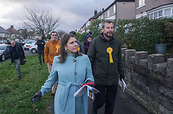 © Licensed to London News Pictures. 9/12/2019. Sheffield , UK. Jo Swinson, Leader of the Liberal Democrats walks with Liberal Democrat candidates for Sheffield Central Colin Ross  while out canvassing for the general election in Sheffield  . Britain will go to the polls on December 12, 2019 to vote in a pre-Christmas general election. Photo credit: Ioannis Alexopoulos /LNP