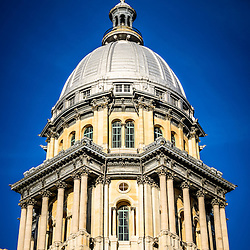 Photo of Springfield Illinois State Capitol dome. The Illinois State Capitol building is a landmark listed on the U.S. National Register of Historic Places. The State Capitol Building was completed in the late 1800's and is French Renaissance style.