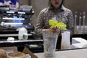 cup for tip with flower at a coffee place with Asian girl New York city