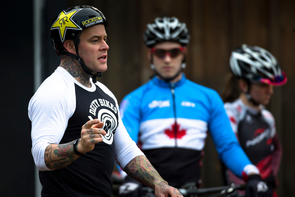 Free rider Jordie Lunn teaches members of the Canadian Mountain Bike team as the course in Rio has features similar to a free ride course at Bear Mountain in Victoria B.C. Canada.