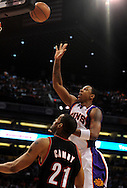 Apr 26, 2010; Phoenix, AZ, USA; Phoenix Suns center Channing Frye (8) puts up a basket during the second quarter in game five in the first round of the 2010 NBA playoffs at the US Airways Arena.  The Suns defeated the Trail Blazers 107-88.  Mandatory Credit: Jennifer Stewart-US PRESSWIRE