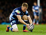 Gareth Anscombe of Cardiff Blues lines up a conversion<br /> <br /> Photographer Simon King/Replay Images<br /> <br /> Guinness PRO14 Round 21 - Cardiff Blues v Ospreys - Saturday 27th April 2019 - Principality Stadium - Cardiff<br /> <br /> World Copyright © Replay Images . All rights reserved. info@replayimages.co.uk - http://replayimages.co.uk
