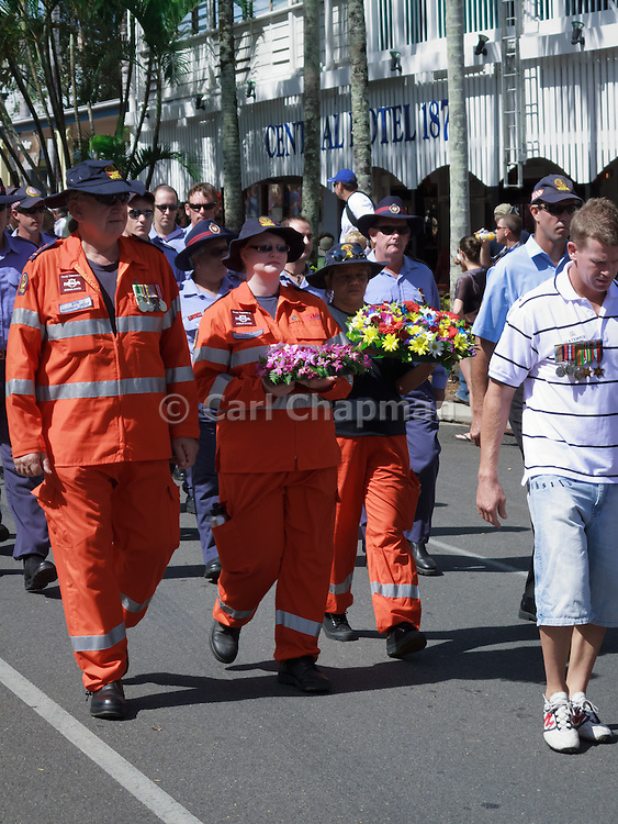 SES and Fire personnel marching during Port Douglas ANZAC Day parade 2009.