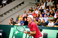 18.09.2015. Odense, Denmark. <br /> Mikael  Torpegaard of Denmark returns a shot during his Davis Cup match against Rafael Nadal of Spain.<br /> Photo: © Ricardo Ramirez.