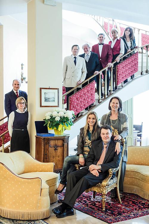 27 APR 2012 - Abano Terme (PD) - Aldo Buia, proprietario dell'Hotel Molino Ariston, con la moglie Francesca Oldoini, la madre e lo staff