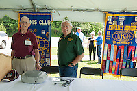 Dexter Willson and Bob Stuart listen to the National Anthem in preparation for the 70th Anniversary celebration of the Kiwanis Pool in St. Johnsbury Vermont.  Karen Bobotas / for Kiwanis International