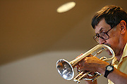 072410-Evergreen, COLORADO-jazzfest-A member of The Celebration Jazz Band plays during the 2010 Evergreen Jazz Fest Saturday, July 24, 2010 at Evergreen Christian Church..Photo By Matthew Jonas/Evergreen Newspapers/Photo Editor