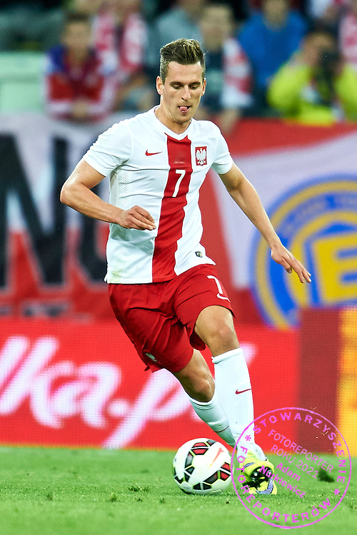 Arkadiusz Milik from Poland controls the ball during international friendly soccer match between Poland and Greece at PGE Arena Stadium on June 16, 2015 in Gdansk, Poland.<br /> Poland, Gdansk, June 16, 2015<br /> <br /> Picture also available in RAW (NEF) or TIFF format on special request.<br /> <br /> For editorial use only. Any commercial or promotional use requires permission.<br /> <br /> Adam Nurkiewicz declares that he has no rights to the image of people at the photographs of his authorship.<br /> <br /> Mandatory credit:<br /> Photo by &copy; Adam Nurkiewicz / Mediasport
