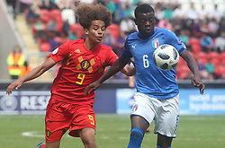 May 17, 2018 - United Kingdom - L-R Gabriel Lemoine of Belgium Under 17 and Paolo Gozzi Iweru of Italy Under 17 .during the UEFA Under-17 Championship Semi-Final match between Italy U17s against Belgium U17s at New York Stadium, Rotherham United FC, England on 17 May 2018. (Credit Image: © Kieran Galvin/NurPhoto via ZUMA Press)