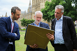 © London News Pictures. 27/06/2017. London, UK. Jack Blanchard - Political Editor Daily Mirror, Jeremy Corbyn and Peter Willis - Deputy editor of the Daily Mirror attend a Pride of Britain photocall in Westminster.  The Pride of Britain Awards honour British people who have acted bravely or extraordinarily in challenging situations. Photo credit: Dinendra Haria/LNP