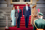 20-3-2018 THE HAGUE King Willem Alexander and Queen Maxima and King Abdullah II and Queen Rania<br />  during the welcome ceremony at palace Noordeinde King Abdullah II and Queen Rania<br />  of Jordan will visit the netherlands for 2 days for a official visit ROBIN UTRECHT