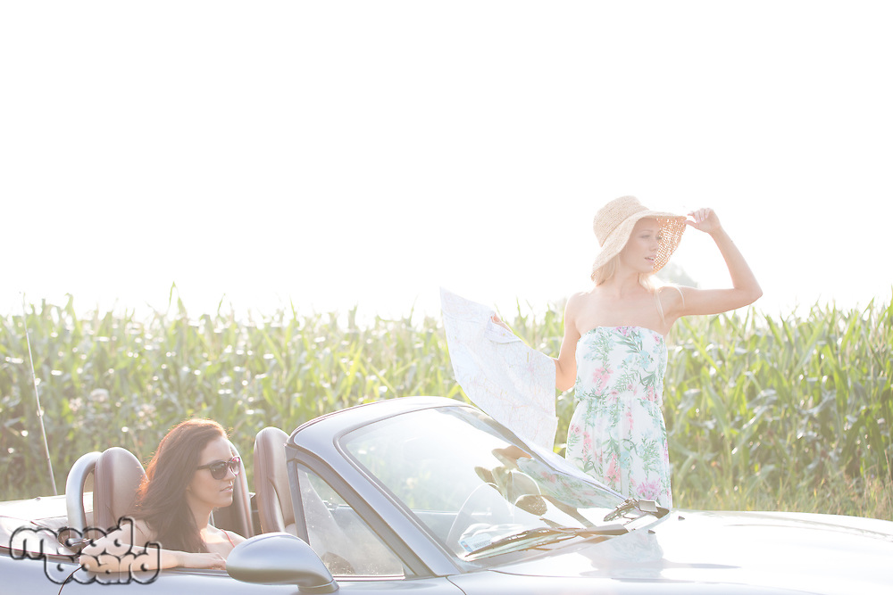Woman holding map while friend sitting in convertible against clear sky on sunny day