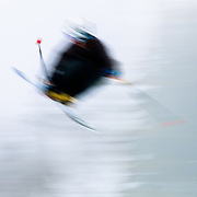 Doug Jambor catches air at the Sesh Up in the backcountry near Mount Baker.