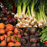 Beets, Leeks, Radishes and Parsley at Farmers Market in Vancouver, Canada