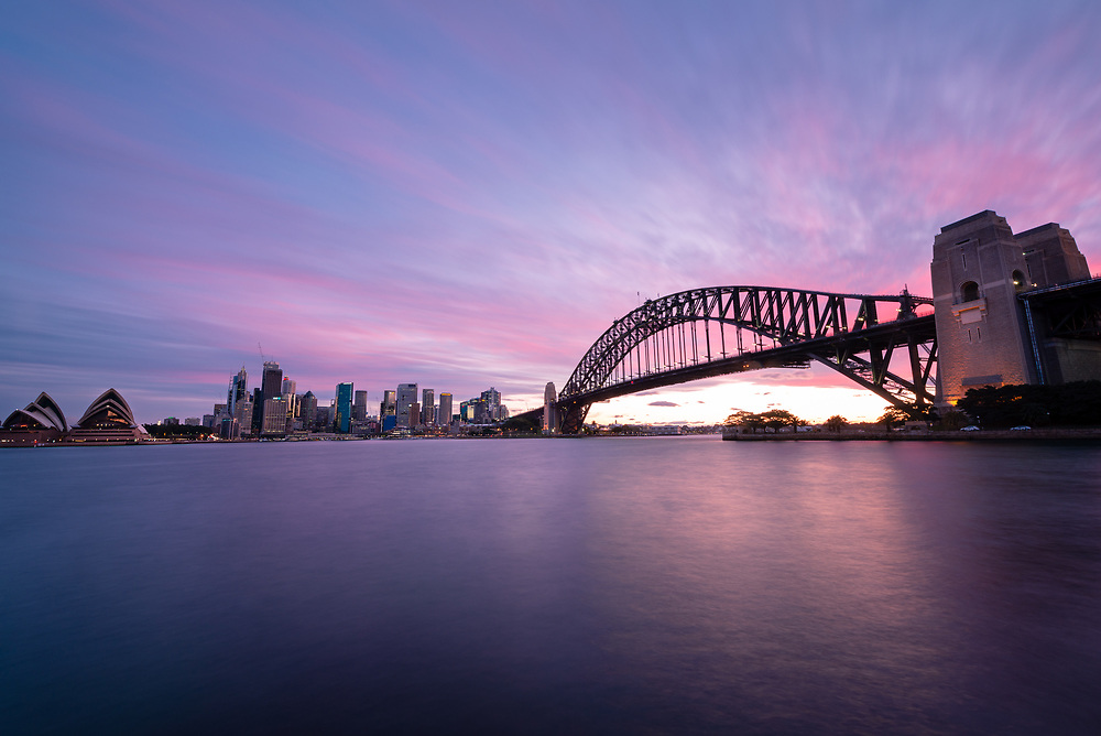 Sunset over Sydney Harbour Bridge