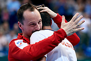 Sopot, Poland - 2018 April 08: (L) Radoslaw Szymanik - captain national team and (R) Kamil Majchrzak both from Poland celebrate victory in Men's Single Match Nr 4 during Poland v Zimbabwe Tie Group 2, Europe/Africa Second Round of Davis Cup by BNP Paribas at 100 years of Sopot Hall on April 08, 2018 in Sopot, Poland.<br /> <br /> Mandatory credit:<br /> Photo by © Adam Nurkiewicz / Mediasport<br /> <br /> Adam Nurkiewicz declares that he has no rights to the image of people at the photographs of his authorship.<br /> <br /> Picture also available in RAW (NEF) or TIFF format on special request.<br /> <br /> Any editorial, commercial or promotional use requires written permission from the author of image.