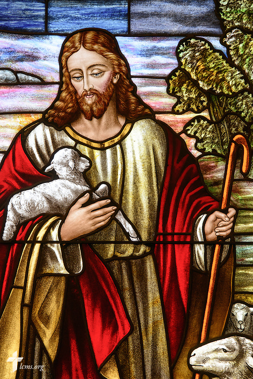 Stained glass of Jesus as Good Shepherd at St. John's Lutheran Church of Plymouth, Wis., on Friday, Jan. 29, 2016. LCMS Communications/Erik M. Lunsford