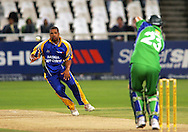 CAPE TOWN, SOUTH AFRICA - 22 February 2008, Vernon Philander fields off hs own bowling during the MTN Domestic Championship match between the Nashua Cape Cobras and the Nashua Dolphins held at Sahara Park, Newlands Stadium in Cape Town, South Africa...Photo by Ron Gaunt/SPORTZPICS