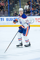 PENTICTON, CANADA - SEPTEMBER 16: Jesse Puljujarvi #39 of Edmonton Oilers skates against the Vancouver Canucks on September 16, 2016 at the South Okanagan Event Centre in Penticton, British Columbia, Canada.  (Photo by Marissa Baecker/Shoot the Breeze)  *** Local Caption *** Jesse Puljujarvi;