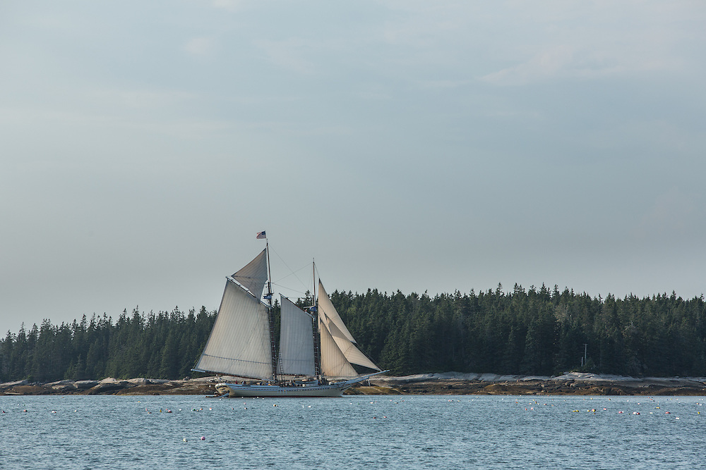 McGlathery Island, ME - 11 August 2014. The windjammer schooner Heritage sailing by McGlathery Island.
