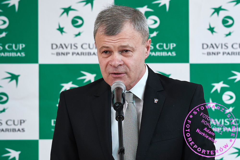 Piotr Szkielkowski - vice president of Polish Tennis Association speaks during official dinner two days before the Davies Cup / Group I Europe / Africa 1st round tennis match between Poland and Lithuania at Herman Hotel on March 4, 2015 in Plock, Poland<br /> Poland, Plock, March 4, 2015<br /> <br /> Picture also available in RAW (NEF) or TIFF format on special request.<br /> <br /> For editorial use only. Any commercial or promotional use requires permission.<br /> <br /> Mandatory credit:<br /> Photo by &copy; Adam Nurkiewicz / Mediasport