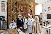 Rome, Vatican Museums, the tapestry workshop, from the left Viola Ceppetelli (seduta)<br /> Chiara Pavan<br /> Laura Pace Morino<br /> Emanuela Pignataro