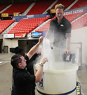 September 22, 2014: The ice is installed in the Cox Convention Center in preparation for the Oklahoma City Barons 2014-2015 season.