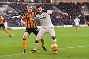 Derby County midfielder Bradley Johnson (15) and Hull City midfielder Sebastian Larsson (16) during the EFL Sky Bet Championship match between Hull City and Derby County at the KCOM Stadium, Kingston upon Hull, England on 26 December 2017. Photo by Ian Lyall.