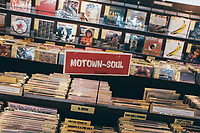 Seven inch soul singles and records at Time Bomb Records in Osaka, Japan.