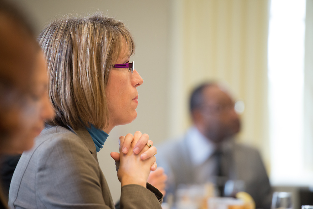 Vicki Seefeldt West, Senior Assistant Director of International Student Recruitment listens to a discussion with 12 presidents of German universities and a representative of the Fulbright Program of New York. Photo by Ben Siegel