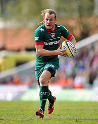 Sam Harrison of Leicester Tigers in possession - Photo mandatory by-line: Patrick Khachfe/JMP - Mobile: 07966 386802 25/04/2015 - SPORT - RUGBY UNION - Leicester - Welford Road - Leicester Tigers v London Welsh - Aviva Premiership