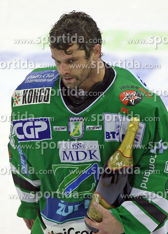 Goalkeeper Klemen Mohoric of Olimpija at ice hockey match ZM Olimpija vs  Acroni Jesencie in third round of final of Slovenian National Championship,  on April 8, 2008 in Arena Tivoli, Ljubljana, Slovenia. Acroni Jesenice won the game 1:2 and lead the series 3:0.  (Photo by Vid Ponikvar / Sportal Images)