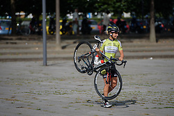 Not risking any punctures, Chanella Stougje (Parkhotel Valkenburg) carries her bike to the start line at the 111 km Stage 4 of the Boels Ladies Tour 2016 on 2nd September 2016 in 's-Hertogenbosch, Netherlands. (Photo by Sean Robinson/Velofocus).