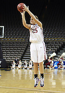 24 MARCH 2009: Oklahoma guard Whitney Hand (25) shoots a three point shot during an NCAA Women's Tournament basketball game Tuesday, March 24, 2009, at Carver-Hawkeye Arena in Iowa City, Iowa. Oklahoma defeated Georgia Tech 69-50.