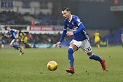 Ipswich Town midfielder Bersant Celina (11) makes a run with the ball during the EFL Sky Bet Championship match between Ipswich Town and Burton Albion at Portman Road, Ipswich, England on 10 February 2018. Picture by Richard Holmes.