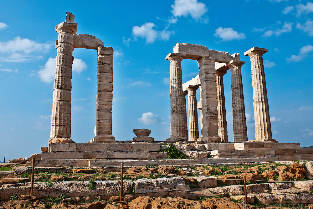 The ancient Greek Temple of Poseidon overlooks the Mediterranean from the point of Cape Sounion (Soúnio in Greek) on the Attica coast of Greece.