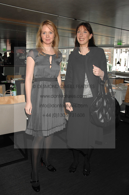 Left to right, KATE REARDON and SAMANTHA CAMERON at a lunch to celebrate the launch of the Top Tips for Girls website (toptips.com) founded by Kate Reardon held at Armani, Brompton Road, London on 5th March 2007.<br />