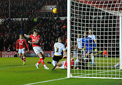 Bristol City's Aden Flint sees his shot blocked by Port Vale's Carl Dickinson  - Photo mandatory by-line: Joe Meredith/JMP - Mobile: 07966 386802 - 10/02/2015 - SPORT - Football - Bristol - Ashton Gate - Bristol City v Port Vale - Sky Bet League One