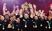 Richie McCaw lifts the Webb Ellis Trophy after winning the Rugby World Cup Final. New Zealand All Blacks v Australia Wallabies, Twickenham Stadium, London, England. Saturday 31 October 2015. Copyright Photo: Andrew Cornaga / www.Photosport.nz