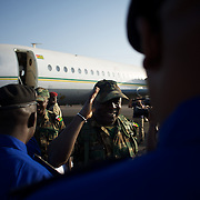 January 17, 2013 - Bamako, Mali: First group of forty five Togolese army men arrive at Bamako International Airport to take part in the international force deployed to Mali to defend the country against the islamists rebel groups advancing from the northern areas of the country. Several insurgent groups have been fighting a campaign against the Malian government for independence or greater autonomy for northern Mali, an area known as Azawad. The National Movement for the Liberation of Azawad (MNLA), an organisation fighting to make Azawad an independent homeland for the Tuareg people, had taken control of the region by April 2012.<br />