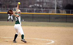 30 March 2013:  Molly McCready pitches during an NCAA Division III women's softball game between the DePauw Tigers and the Illinois Wesleyan Titans in Bloomington IL
