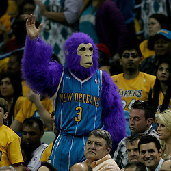 April 22, 2011; New Orleans, LA, USA; A New Orleans Hornets fan in costume in the stands during the second half in game three of the first round of the 2011 NBA playoffs against the Los Angeles Lakers at the New Orleans Arena. The Lakers defeated the Hornets 100-86.   Mandatory Credit: Derick E. Hingle
