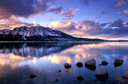winter sunset over lake tahoe ca justin bailie photography