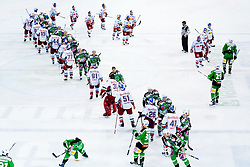 Teams shaking hands after ice-hockey match between HDD Tilia Olimpija and EC Red Bull Salzburg in 20th Round of EBEL league, on November 6, 2011 at Hala Tivoli, Ljubljana, Slovenia. HDD Tilia Olimpija won in overtime 3:2. (Photo By Matic Klansek Velej / Sportida)