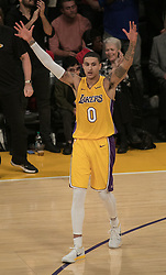 November 21, 2017 - Los Angeles, California, United States of America - Kyle Kuzma #0 of the Los Angeles Lakers celebrates after taking a lead in the 4th quarter during their game with the Chicago Bulls on Tuesday November 21, 2017 at the Staples Center in Los Angeles, California. Lakers defeat Bulls, 103-94. JAVIER ROJAS/PI (Credit Image: © Prensa Internacional via ZUMA Wire)