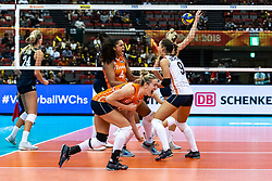 15-10-2018 JPN: World Championship Volleyball Women day 16, Nagoya<br /> Netherlands - USA 3-2 / Celeste Plak #4 of Netherlands, Maret Balkestein-Grothues #6 of Netherlands, Myrthe Schoot #9 of Netherlands