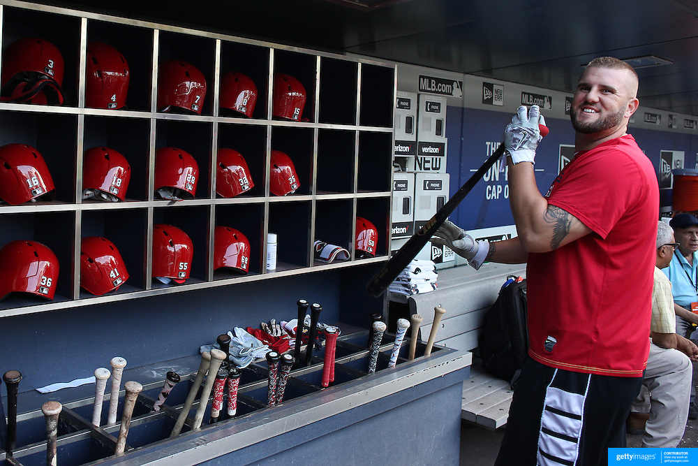 NEW YORK, NEW YORK - July 27: Matt Adams #32 of the St. Louis Cardinals in the dugout before the St. Louis Cardinals Vs New York Mets regular season MLB game at Citi Field on July 27, 2016 in New York City. (Photo by Tim Clayton/Corbis via Getty Images)