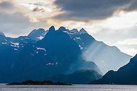 Norway, Lofoten. Raftsundet is a 20km long strait separating Austvågøya and Hinnøya.
