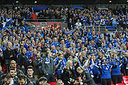 The travelling Estonia fans during the UEFA European 2016 Qualifier match between England and Estonia at Wembley Stadium, London, England on 9 October 2015. Photo by Shane Healey.