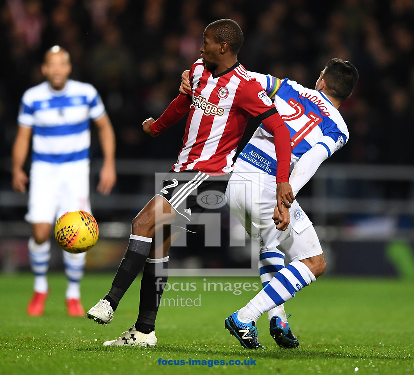 x of Queens Park Rangers and y of Brentford during the Sky Bet Championship match at the Loftus Road Stadium, London<br /> Picture by Simon Dael/Focus Images Ltd 07866 555979<br /> 27/11/2017